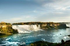 Scenic view of Niagara falls and boat anchored Stock Photo