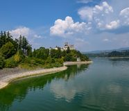 Scenic view of Niedzica Castle and artificial Czorsztynskie Lake in Southern Poland stock images