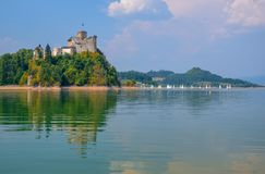 Scenic view of Niedzica Castle and artificial Czorsztynskie Lake in Southern Poland stock photography