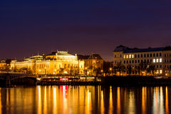 Scenic view in night of the Old Town architecture over Vltava river in Prague, Czech Republic Royalty Free Stock Photography
