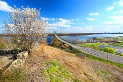 Beckey Bridge Mississippi River Landscape. Scenic view of the Norbert F. Beckey Bridge over the Mississippi River from the Mark Twain Overlook in Iowa royalty free stock images