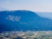 Scenic view from the north rim of Aso volcanic caldera. Aso-Kuju National Park, Kumamoto prefecture, Japan royalty free stock image