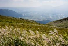 Scenic view from the north rim of Aso volcanic caldera. Aso-Kuju National Park, Kumamoto prefecture, Japan stock photography