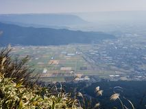 Scenic view from the north rim of Aso volcanic caldera. Kumamoto prefecture, Japan royalty free stock photo