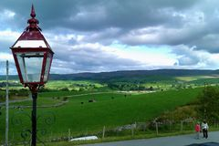 Lantern & countryside view from Kirkby Stephen Railway Station royalty free stock photography