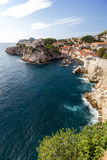 Scenic view of ocean and city of Dubrovnik Stock Images