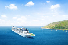 Scenic View Of The Ocean With Cruise Ship Stock Photos