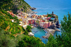 Scenic view of ocean and harbor in colorful village Vernazza, Ci Stock Photos