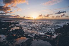 Scenic View of Ocean During Sunset Royalty Free Stock Photos