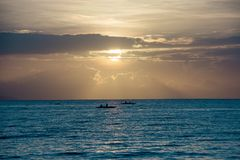 Scenic View of Ocean During Sunset Stock Image
