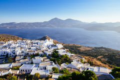 Scenic view of ocean and traditional Greek village Plaka, Greece Stock Images