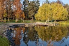 Free Scenic View Of Stromovka Town Park In Prague, Czech Republic. Colorful Autumnal Leaves On Trees, Footpath And A Pond Stock Image - 201200571