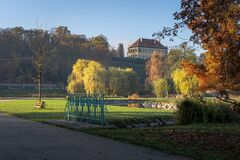 Free Scenic View Of Stromovka Town Park In Prague, Czech Republic. Colorful Autumnal Leaves On Trees, Footpath And A Pond Royalty Free Stock Image - 201200616