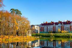 Scenic View Of The Pond And Autumn Park, Golden Autumn, Beautiful Landscape Stock Images