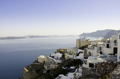 Scenic view of Oia village royalty free stock photos