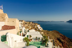 Scenic view of  Oia village over the ruins Stock Photo