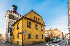 Lotrscak tower in Zagreb, Upper Town. Scenic view at old architecture in capital city of Croatia, Zagreb upper town landmarks Royalty Free Stock Photography