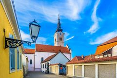 Old church in Krizevci, Croatia. Scenic view at old baroque architecture in Krizevci town, Northern Croatia tourist resort royalty free stock photography