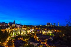 Scenic view of old part of Luxembourg city, Grund, at night Royalty Free Stock Images