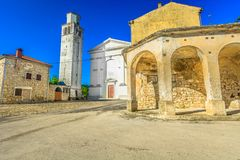 Medieval architecture in Croatia, Istria region. Scenic view at old square in central Istria, famous tourist destination in Croatia, Europe stock photography
