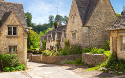 Scenic view on old street in sunny morning , Bibury, Gloucestershir, England, UK Stock Images