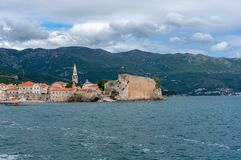 Scenic view of old town Budva Montenegro royalty free stock photo