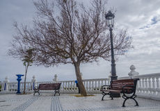Scenic view of the Old Town on a cloudy day in Benidorm, Costa Blanca, Spain Stock Photography