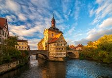 Scenic view of Old Town Hall of Bamberg, Germany. UNESCO World Heritage Site. stock photography