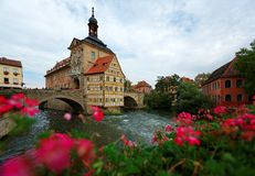 Scenic view of Old Town Hall of Bamberg under moody cloudy sky, a beautiful medieval town on the river Regnitz Stock Image