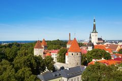 Scenic view of Old Town of Tallinn Royalty Free Stock Images