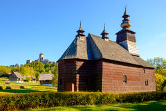 Scenic view of old traditional Slovak wooden church, Slovakia Royalty Free Stock Photo