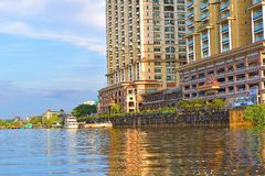 A Scenic View Of One Of Kuching`s Luxurious Condominium Build By The Riverbank royalty free stock image