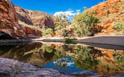 Scenic view of Ormiston gorge water hole in the West MacDonnell Ranges outback Australia. Scenic view of Ormiston gorge water hole in the West MacDonnell Ranges stock photos