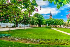 Public park in Krizevci, Croatia. Scenic view at outdoors public park in Krizevci town, Croatia, travel destinations royalty free stock images