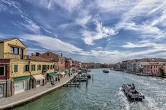 Scenic view over the canal, Murano Island, Venice, Italy royalty free stock photos