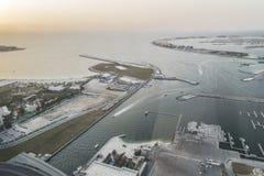 Scenic view over Dubai Marina harbor with boats and yachts. Royalty Free Stock Photo
