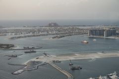 Scenic view over Dubai Marina harbor with boats and yachts. Royalty Free Stock Photos