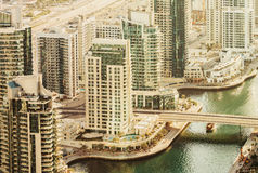 Scenic view over Dubai Marina harbor at daytime with residential skyscrapers Royalty Free Stock Photography