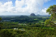 Scenic view over Glasshouse mountains area stock image