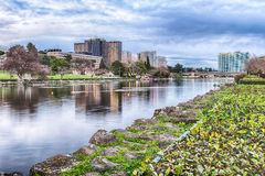 Scenic view over the lake of EUR in Rome, Italy Royalty Free Stock Images
