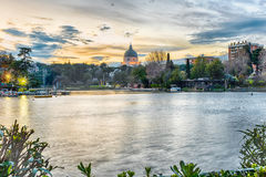 Scenic view over the lake of EUR in Rome, Italy Stock Image