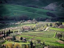 Scenic view over the lanscapes from the walls of Montepulciano,. Tuascany Italy royalty free stock photo
