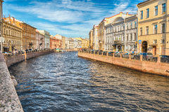 Scenic view over Moyka River embankment, St. Petersburg, Russia Royalty Free Stock Photo
