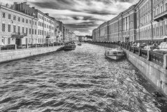 Scenic view over Moyka River embankment, St. Petersburg, Russia Stock Photography