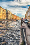 Scenic view over Moyka River embankment, St. Petersburg, Russia Royalty Free Stock Images