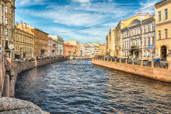 Scenic view over Moyka River embankment, St. Petersburg, Russia Stock Images