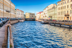 Scenic view over Moyka River embankment, St. Petersburg, Russia Royalty Free Stock Photography