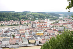 View from above over Passau. Scenic view over Passau with church and beautiful houses Royalty Free Stock Image