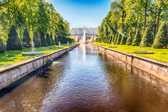 Scenic view over Peterhof Palace and Sea Channel, Russia Stock Photography