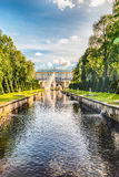 Scenic view over Peterhof Palace and Sea Channel, Russia Stock Images
